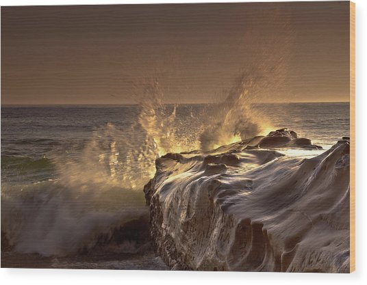 Gilded Eruption Wood Print