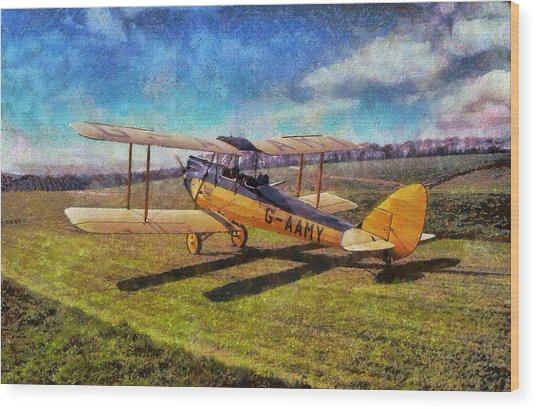 Wood Print featuring the digital art Gipsy Moth by Paul Gulliver