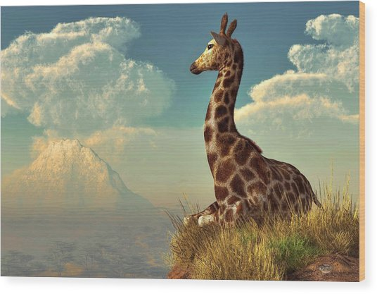Giraffe And Distant Mountain Wood Print