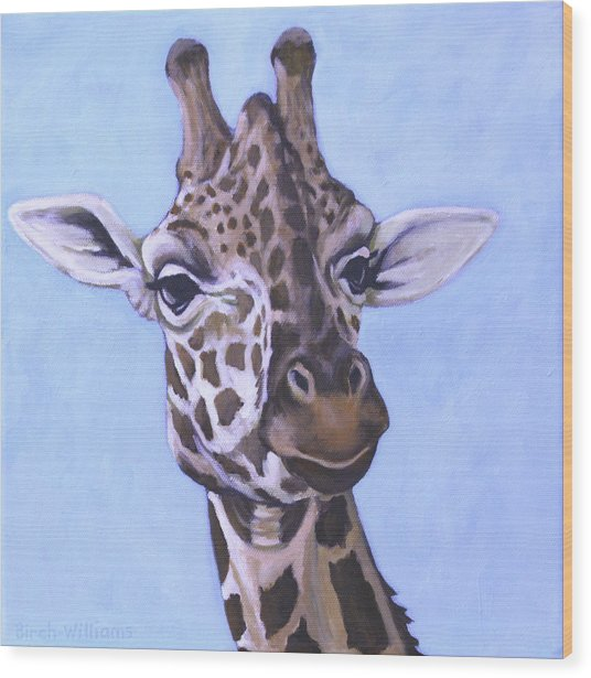 Giraffe Eye To Eye Wood Print