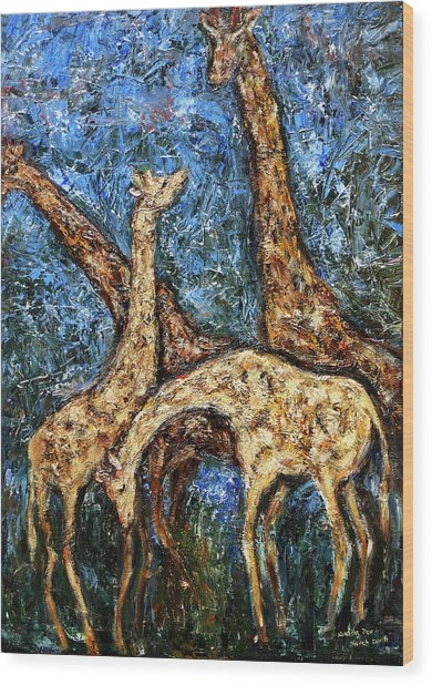 Giraffe Family Wood Print