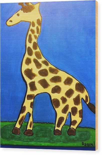 Giraffe Wood Print by Fred Hanna