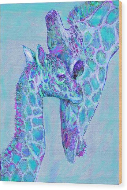 Giraffe Shades  Purple And Aqua Wood Print