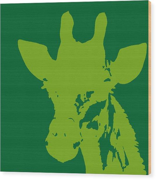 Giraffe Silhouette Lime Green Wood Print