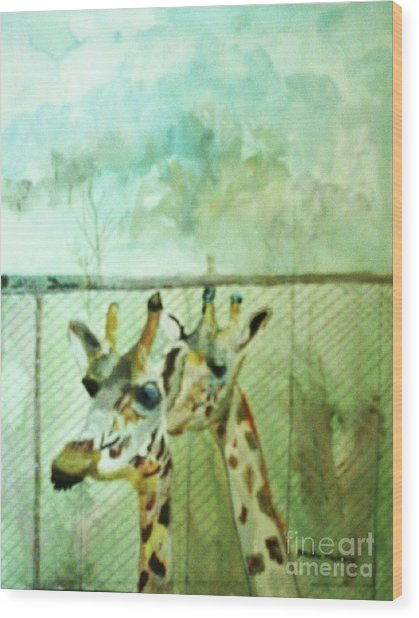 Giraffe World Wood Print