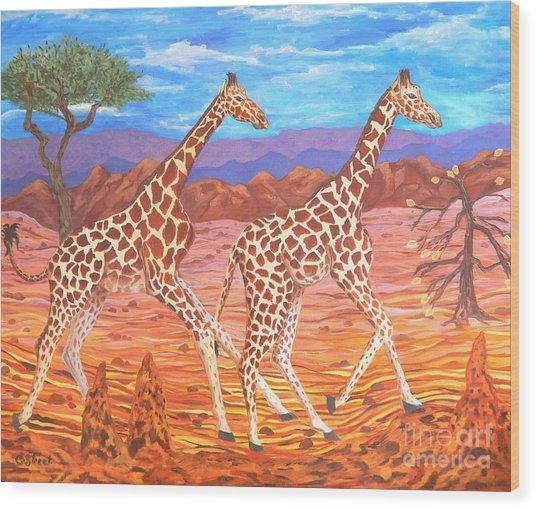 Giraffe's Courting Wood Print