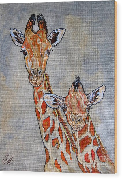Giraffes - Standing Side By Side Wood Print