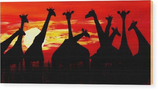 Giraffes Sunset Africa Serengeti Wood Print