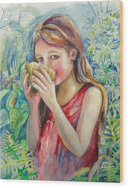 Girl And Coconut Wood Print