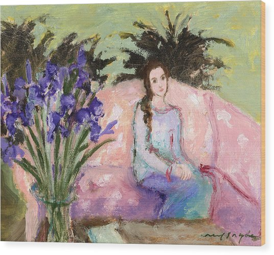 Girl And Iris Wood Print