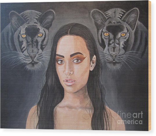 Girl And Panther Wood Print