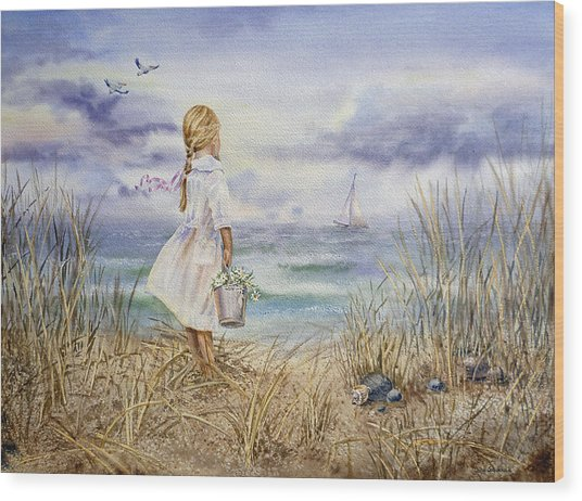 Girl At The Ocean Wood Print
