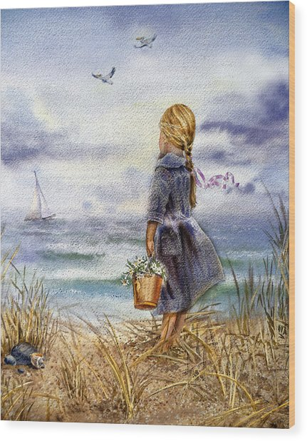 Girl And The Ocean Wood Print