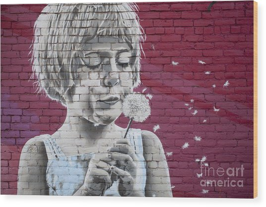 Girl Blowing A Dandelion Wood Print