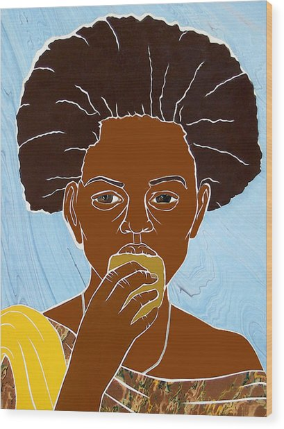 Girl Eating Mango Wood Print