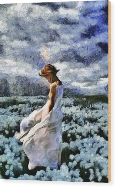Girl In A Cotton Field Wood Print