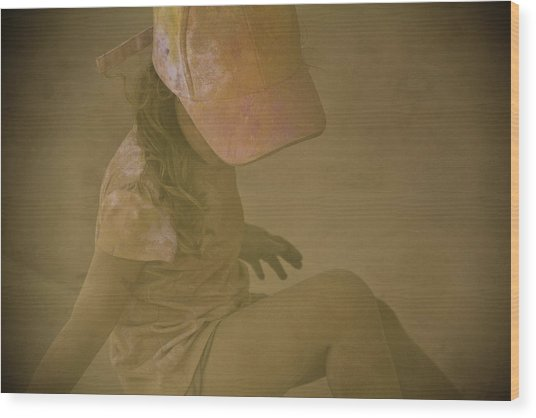 Girl In A Dust Storm Wood Print by Debbie Cundy