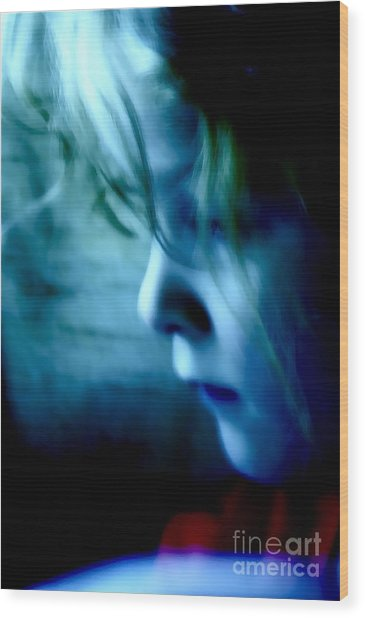 Girl In Blue Wood Print
