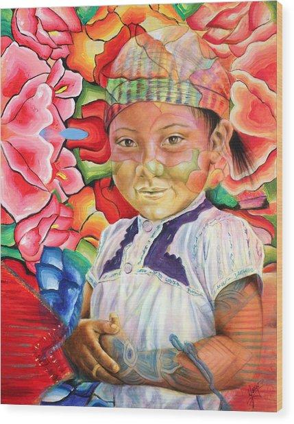 Girl In Flowers Wood Print