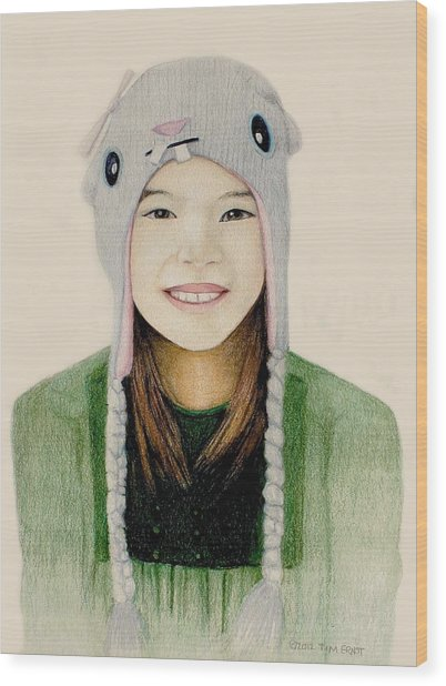 Girl In The Rabbit Cap Wood Print