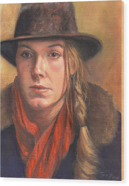 Girl In The Red Scarf Wood Print by Terri  Meyer