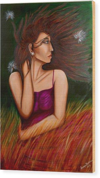 Girl In Wind Wood Print