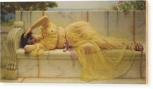 Girl In Yellow Drapery Wood Print