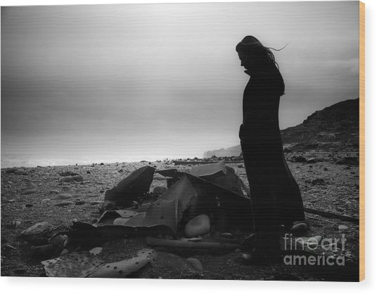 Girl On The Beach Wood Print