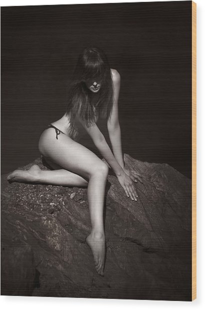 Girl On The Stone-2 Wood Print by Alexander Pereverzov
