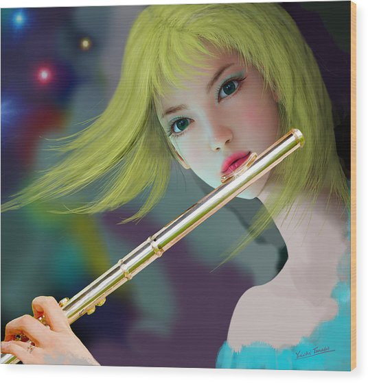 Girl Playing Flute 2 Wood Print