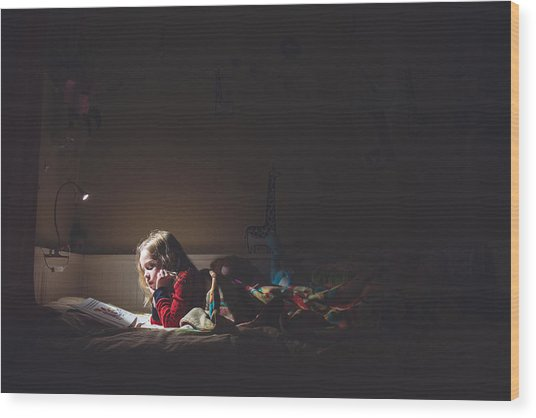 Girl Reading In Her Bed At Night Wood Print by Teresa Short