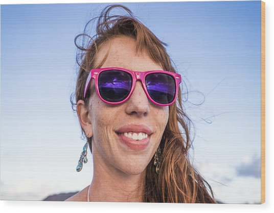 Girl Smiling With Pink Sunglasses Wood Print by Linka A Odom