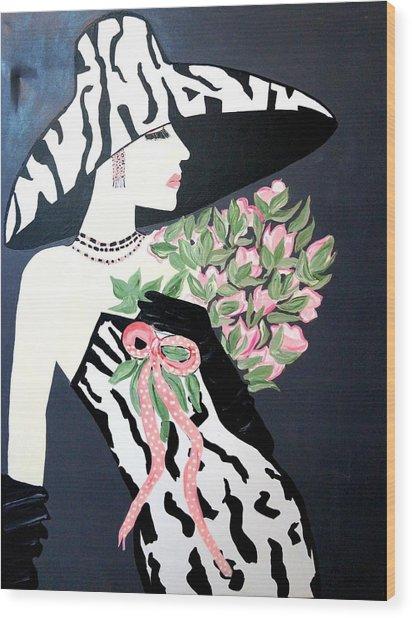 Girl That Loves Pink  Art Deco Wood Print