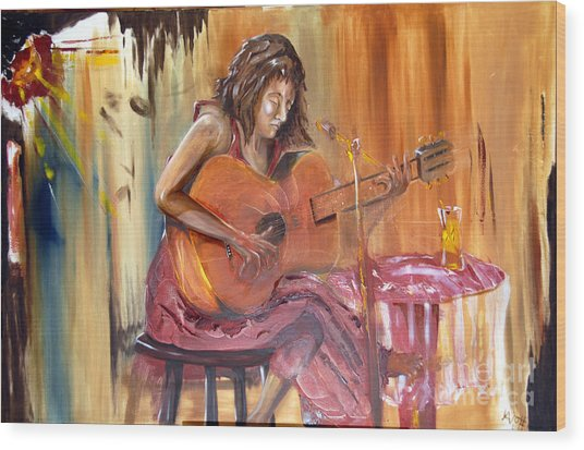 Girl With A Guitar Wood Print
