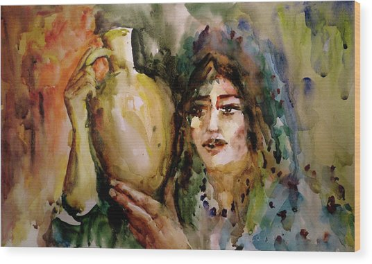 Girl With A Jug. Wood Print