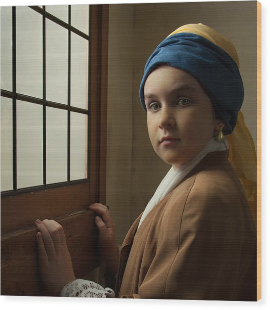 Girl With A Pearl Earring At A Window Wood Print
