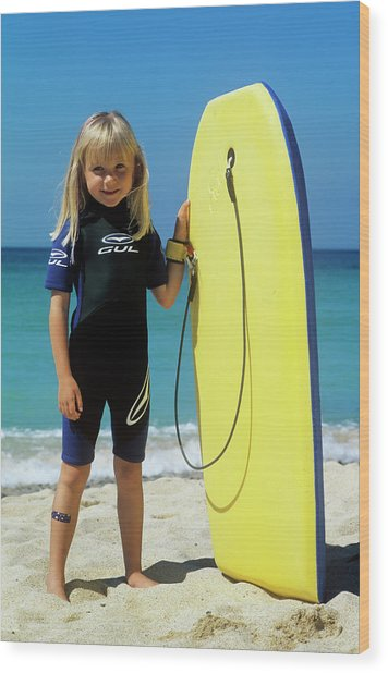 Girl With A Surfboard Wood Print