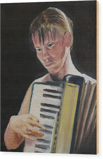 Girl With Accordion Wood Print