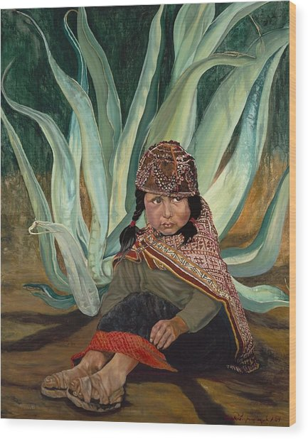 Girl With Agave Wood Print