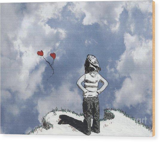 Girl With Balloons 4 Wood Print
