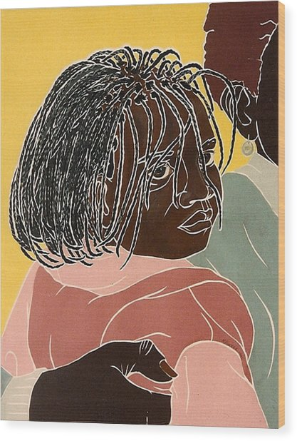 Girl With Braids Wood Print