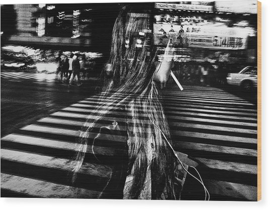 Girl With Cigarette Wood Print