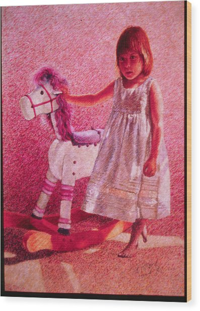 Girl With Hobby Horse Wood Print