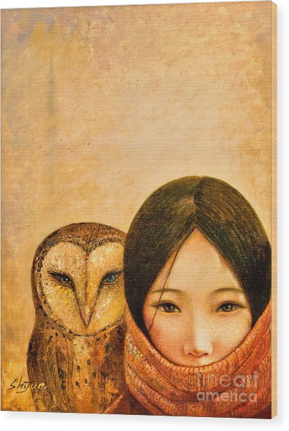 Girl With Owl Wood Print