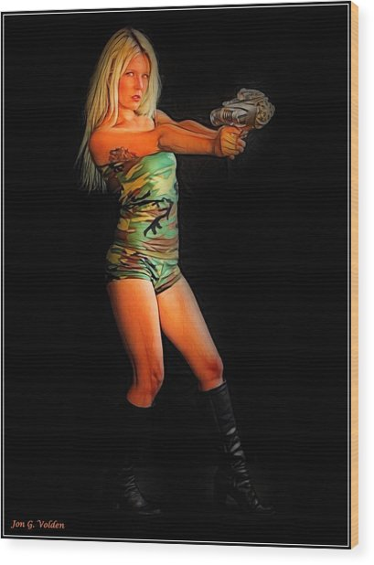 Girl With Ray Gun Wood Print