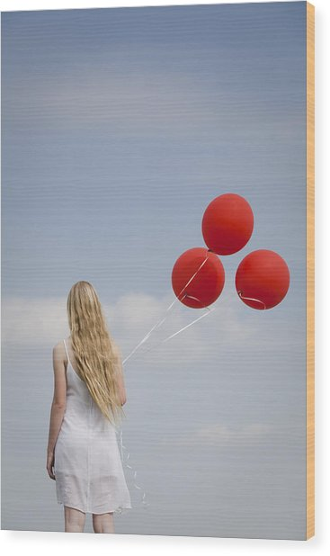 Girl With Red Balloons Wood Print