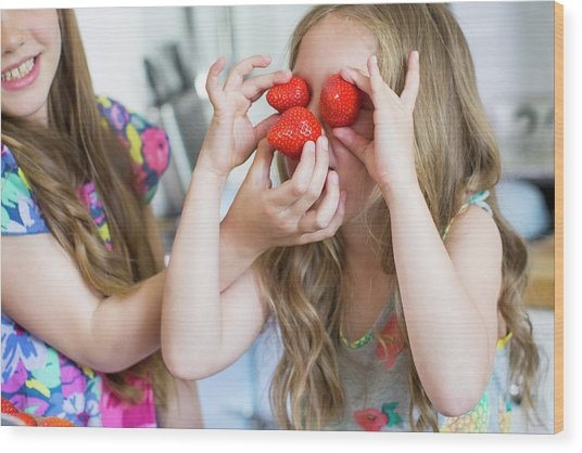 Girl With Strawberries Covering Her Eyes Wood Print