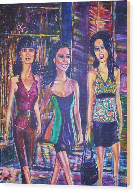 Girlfriends Wood Print by Linda Vaughon