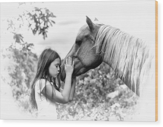 Girls And Their Horses Wood Print