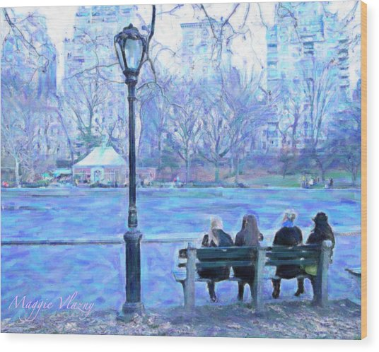Girls At Pond In Central Park Wood Print